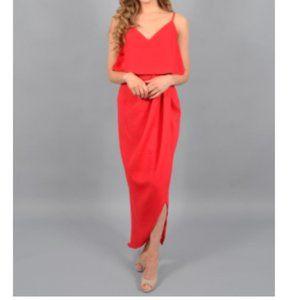 Xscape Red V Neck Ruffled Overlay Maxi Dress